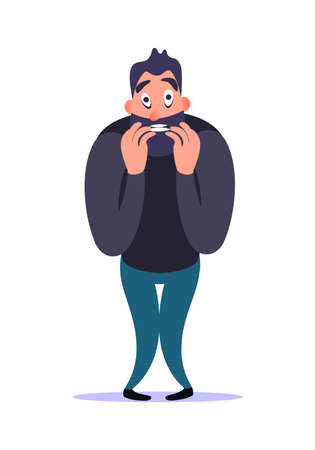 Stressful nervous bearded cartoon man bites nail with fear and concern, demonstrates his anxiety disorder. Mental ill concept. Male character tension and afraid. Psychology problems