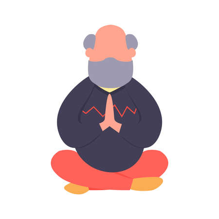 Elderly man meditating in a lotus pose. Simple flat old man vector character. Yoga holistic practic for seniors. Healthy lifestyle concept.