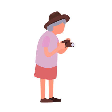 Elderly woman taking pictures of sights. Cartoon female senior character with a camera. Senior activities concept.