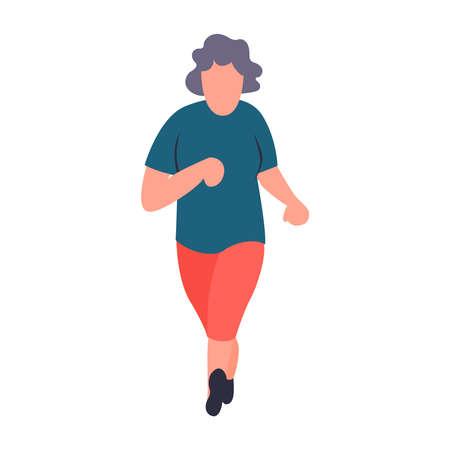 Deportista senior corriendo. Anciana para correr. Concepto de actividades para personas mayores de recreación y ocio. Personaje de vector femenino anciano de dibujos animados