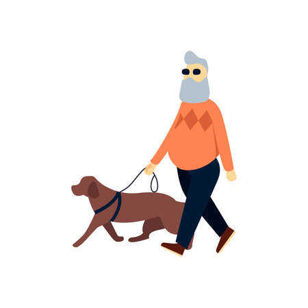 Blind senior with guide dog. Old man impaired vision. Elderly person with blindness on walk