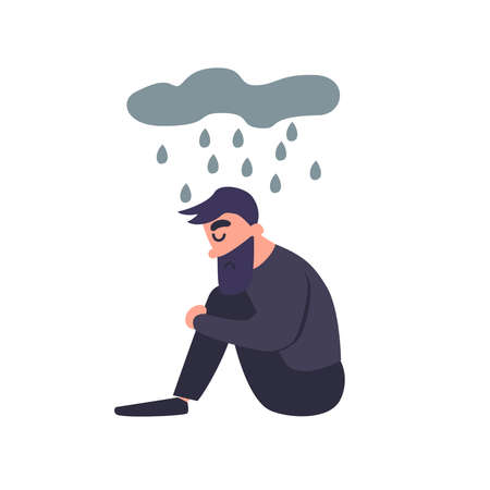 Sad man sits in the rain. Sadness dreary lonely depressed young man thinks about the bad. Unhappy guy. Mental disorder. Illustration