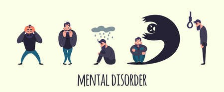 Group of people with psychology or psychiatric problem. Illness men in anxiety disorder. Phobia, suicide, fear and other mental disorder vector illustration Фото со стока