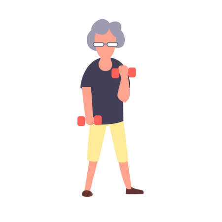 Senior fitness woman training with dumbbells. Recreation and leisure senior activities concept. Cartoon elderly female character.