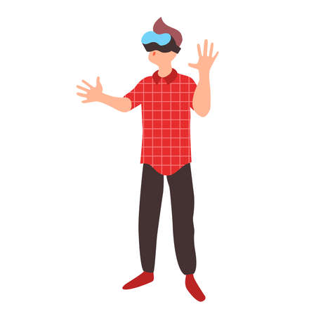 Teen learns in virtual reality glasses. Teenager wearing vr headset. A boy plays a game in augmented reality. Modern learning technologies vector concept