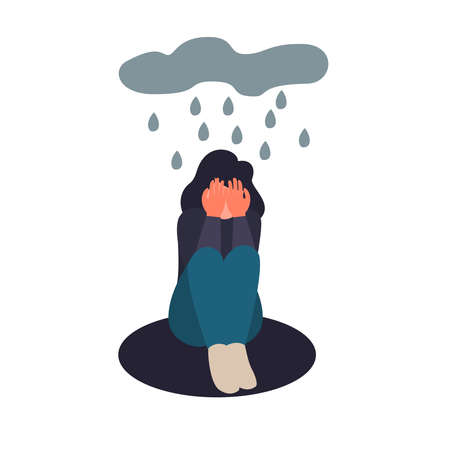 Depressed woman sit on the floor. Depressed young girl crying covering her face with her hands. Sad female flat character sits in the rain.