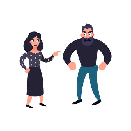 Man and woman conflict. Family quarrel. Problems in relationship concept. Angry couple fighting and shouting at each other. Vector illustration in flat style