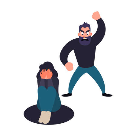 Abused woman. Abuser man shouts at a girl. Stop harassment and abuse in relationship concept. Illustration