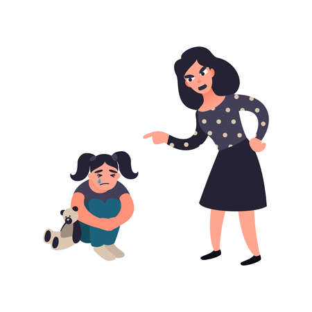 Mother punishing her little sad crying daughter. Mom scolds her child. Wrong education. Domestic conflict concept Stock Photo