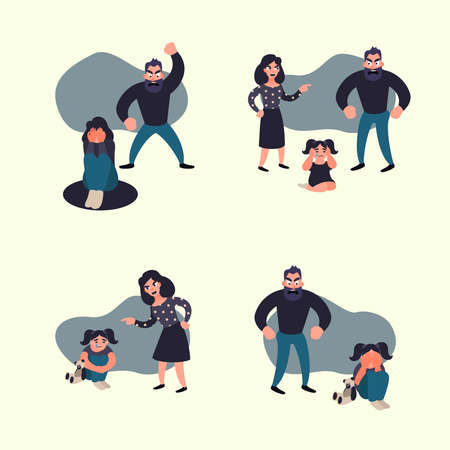 Domestic violence concept. Family conflict situations. Inadequate behaviour