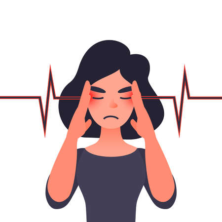 Unhappy young woman with severe headache. Migraine, health problems and pain head. Throbbing pain in temples. Banco de Imagens - 127726371