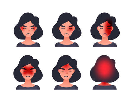 Set of headache types on different area of patient head. Woman with tession cluster and other head types of migraine