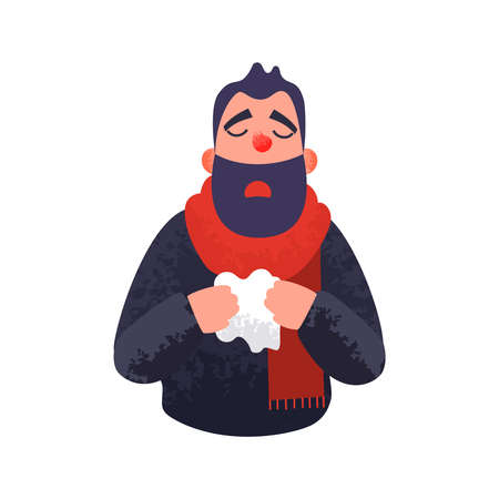 The man has a cold. Flu ill sick concept. Male character sneezes and holds a handkerchief. Vector illustration in flat style with trendy grunge shadows.
