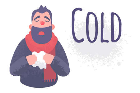 Cold flu banner. Ill virus sick concept. Male character sneezes and holds a handkerchief. Inscription Cold. Vector illustration in flat style with trendy grunge shadows. Ilustração