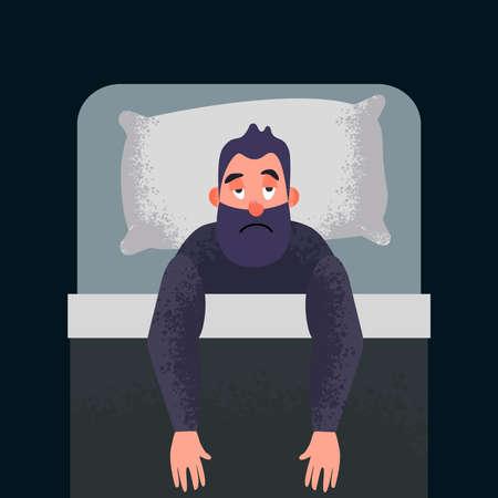 Konzeptkunst für schlaflose Schlaflosigkeit. Müder Mann auf dem Bett kann nicht schlafen. Männlichen Charakter betonen. Schlafloser Cartoon-Typ.
