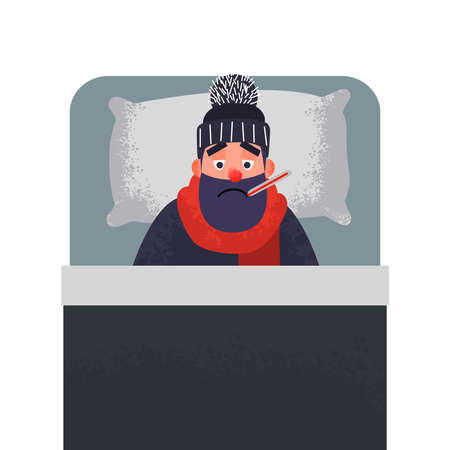 Ill cold man in bed with a thermometer in his mouth. Male character in hat and scarf under the blanket is sick. Vector illustration in flat style with trendy grunge shadows.