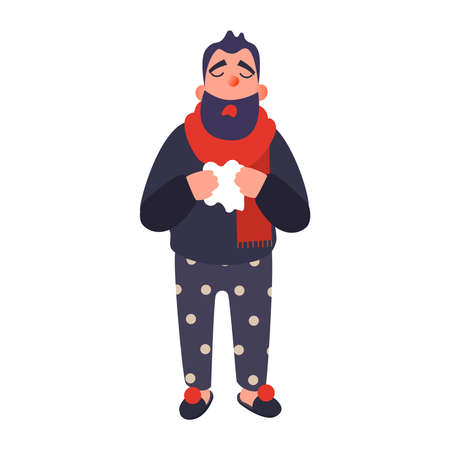 Cold man in a rug holds a cup. Sick young person in hat with handkerchief in his hand. Vector illness concept in flat style Illustration
