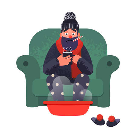 Cold flu man in sofa with a thermometer is treated at home. Vector illness concept in flat style with trendy grunge shadows. Flu ill sick vector flat male character with cup of tea.