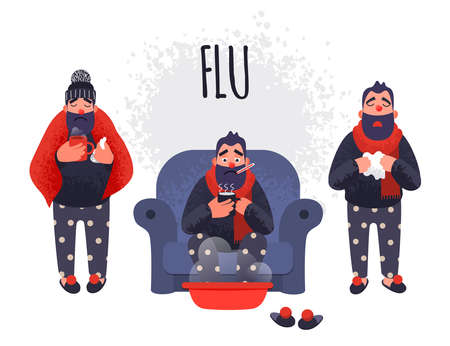 Set of people having cold. Sick fever flu vector male characters is treated at home. Ilustração