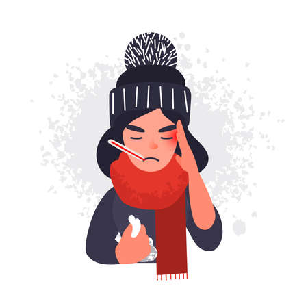 Sick cold woman in cap and scarf with a thermometer in her mouth. Ill flu female character with a headache with a handkerchief in her hand. Illustration