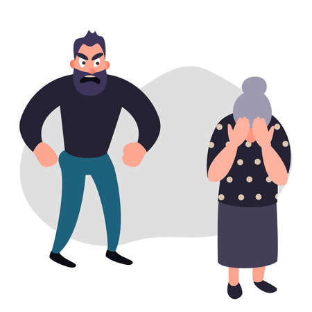 Family violence and aggression concept. Aggressive man scream at a scared elderly woman. Senior female crying covering her face