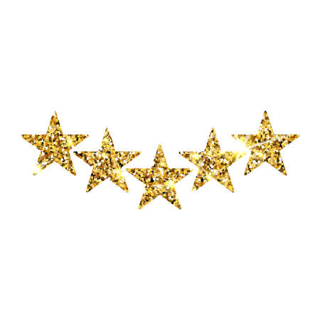 Five gold stars customer product rating review. 5 golden stars icon for apps and websites