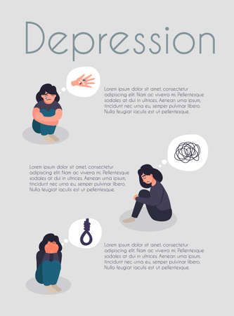 Mental health care and psychological support poster brochure flyer design. Help in depression card. Depressed woman sit on the floor
