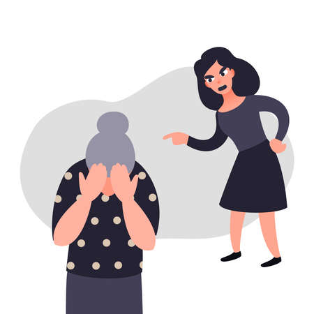 Family violence and aggression concept. Aggressive woman scream at a scared elderly woman. Senior female crying covering her face. Stop domesic abuse.