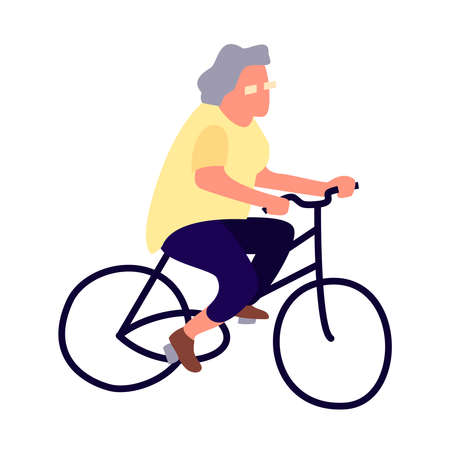 Elderly woman on a bicycle. Activity of the elderly concept. Senior female lifestyle. Mature cyclist leads a healthy lifestyle. Old lady on bike. Stock Photo