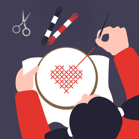 Top view of a table with cross stitching hands. Vector illustration of sewing workshop. Creative craftwork lab template. Threads, scissors, hoops and other accessories for embroidery.