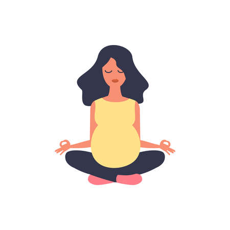 Beautiful pregnant woman. Yoga illustration. Sport exercise, fitness workout. Health care. Girl sport. Happy maternity