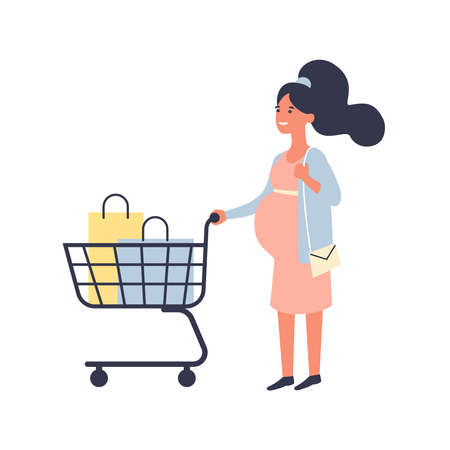 Pregnant woman with shopping cart makes purchases in the supermarket. Shopping and Pregnancy concept. Flat vector illustration