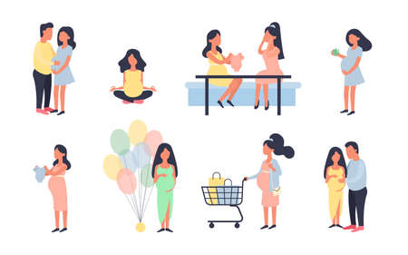 Pregnant woman. Pregnancy vector illustration set. Walking, healthy nutrition during pregnancy, purchase, baby shower and other situations. Character vector design. Daily activities, shopping. Ilustração