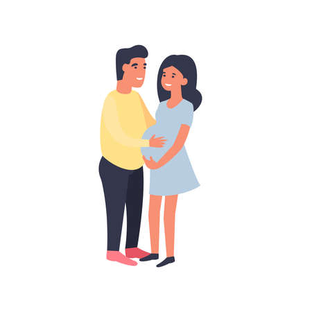 Happy couple. Man hugging pregnant woman and touching her belly. Pregnancy and motherhood. Cute flat cartoon characters isolated on white background