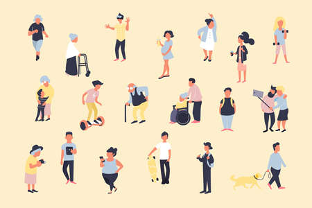 Set of cartoon people walking on street. Crowd of male and female tiny characters. Colorful vector bundle in trandy flat style. Large group of people.