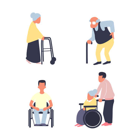 Rehabilitation after injury vector flat set. Old woman with walker, male senior with cane. Man on wheelchair