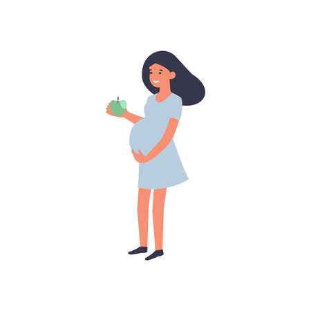 Healthy food and pregnancy concept. Pregnant woman standing with apple. Nutrition and diet during pregnancy. Flat vector illustration