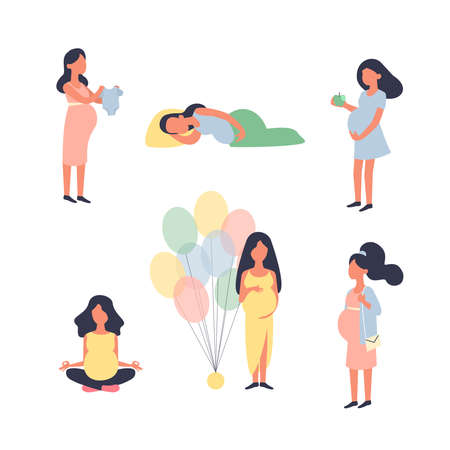 Pregnant woman. Pregnancy vector illustration set. Yoga, walk, sleep, baby shower and other situations. Character vector design. Ilustração