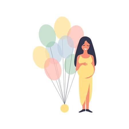 Happy pregnant woman standing with balloons at a baby shower. Pregnancy character concept. Flat vector illustration Ilustração
