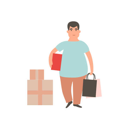 Happy boy with shopping. Man holding shopping bags and box. Male shopaholic concept art. Cartoon vector character design. Flat illustration