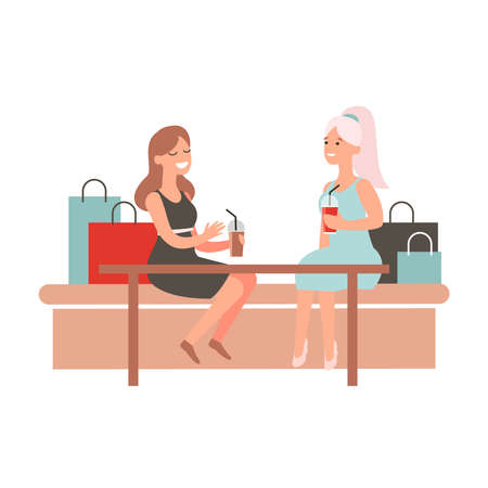 Happy girl friends discussing food court purchases. Women sit at table in cafe and chat. Female shopaholic concept art. Cartoon vector character design.