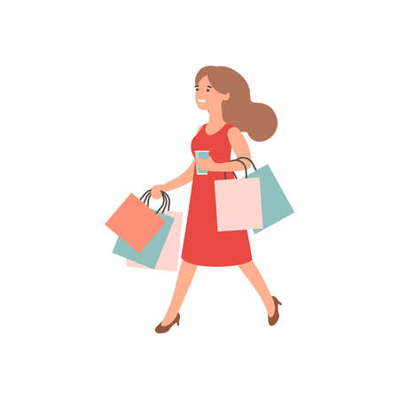 Happy girl with shopping. Woman holding shopping bags. Female shopaholic concept art. Cartoon vector character design. Flat illustration Ilustração