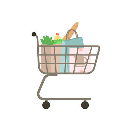 Self-service supermarket full shopping trolley cart with fresh grocery products and appliances. Shopping trolley full of bag and box.