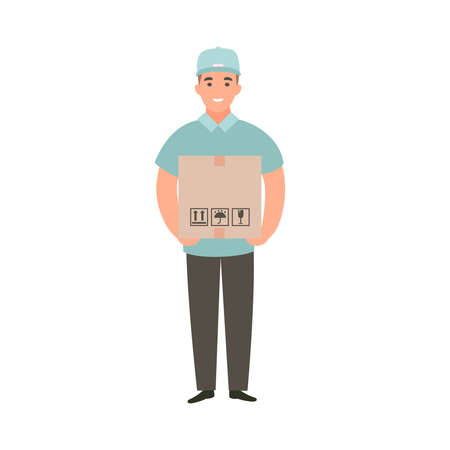 Delivery guy holding box with an order. Deliveryman brought purchases. Cartoon flat vector character design