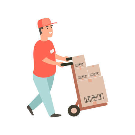 Man carries a cart with boxes. Delivery goods with dolly by hand. Delivery guy pushing a hand truck with purchases.