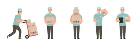 Man carries a cart with boxes. Delivery goods with dolly by hand. Delivery guy pushing a hand truck with purchases. Cartoon flat vector character design set