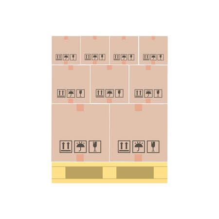 Boxes on wooden pallet. Flat vector illustration. Warehouse cardboard parcel boxes stack. Packaging and delivery. Cargo services or loading goods concept