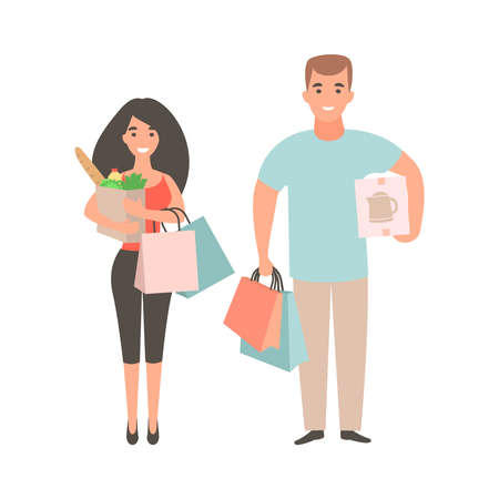 Happy couple with packages and boxes. People shopping concept. Flat character purchase for shopping lifestyle design. Family in the supermarket to shop. Ilustração