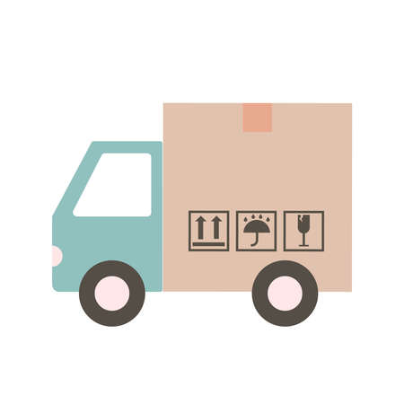 Delivery truck Van in the form of a box. Delivery truck carries online orders. Shipping goods and purchases. Flat style vector illustration delivery service concept. Ilustração