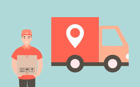 Courier provides free delivery of goods or postal parcels to the address. Man with cardboard boxes. Vector illustration in flat style